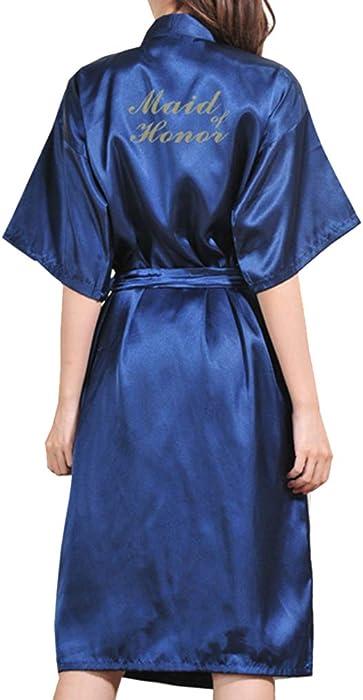 Mxssi Mujer SPA Kimono Albornoz Bata Carta Dama de Honor Bata de Dama de Honor Batas de Boda Escote en v Orofundo Escote en v