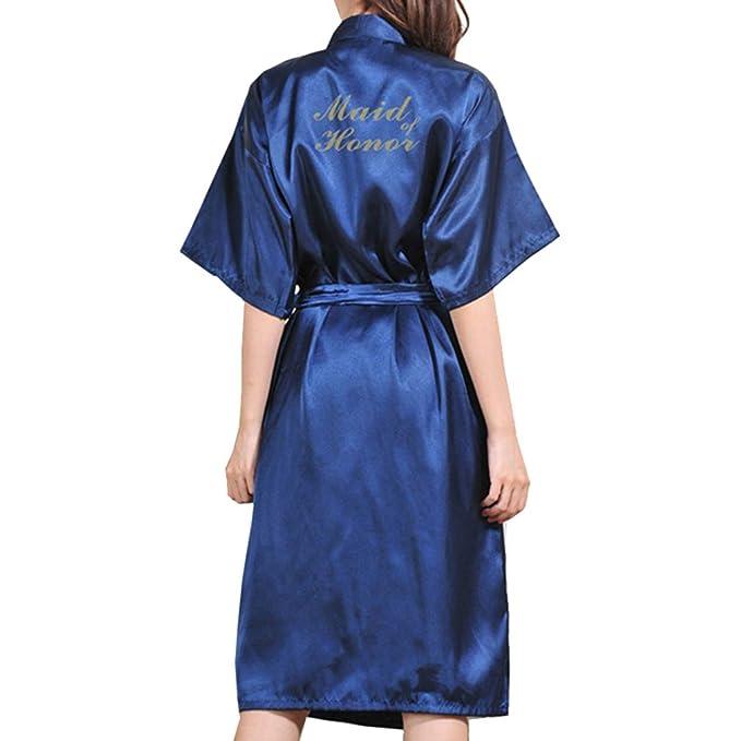Yying Maid of Honor Bata de Bata Vestido de Mujer Sexy Kimono Corto Ropa Dormir Ropa de Dormir Vestidos Fiesta Boda: Amazon.es: Ropa y accesorios