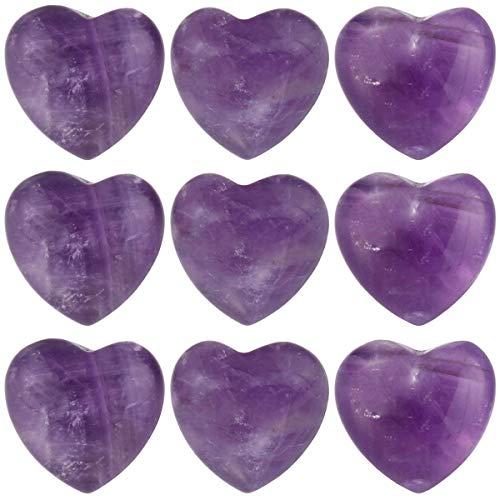 (TUMBEELLUWA Healing Stones Carved Heart Puff Love Crystal Chakra Worry Reiki Pocket Palm Stone Pack of 15,Amethyst,0.5