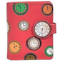 Shagwear Women's Small Zipper Wallet Vintage Clocks Salmon