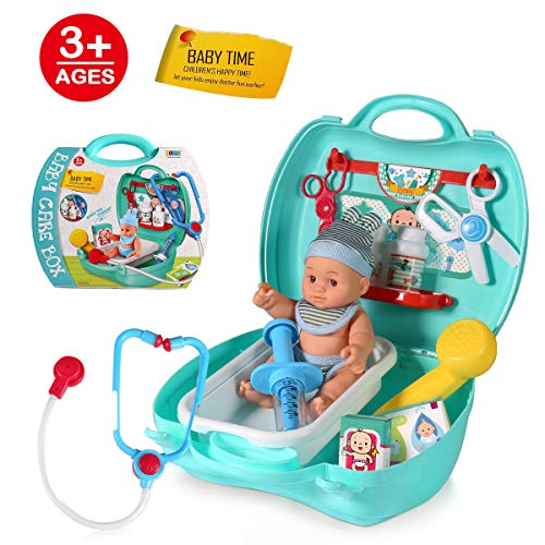 Kids Doctor Kit, 12pcs Pretend Play Toy Set Doctors Equipment With a Baby Doll for 3,4,5 Year Old Girls Birthday Gift