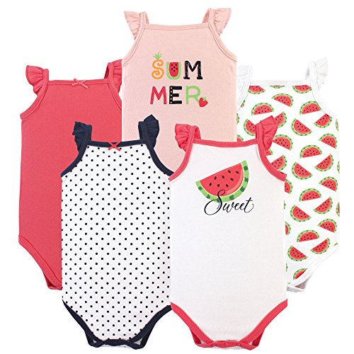 Hudson Baby Unisex Baby Sleeveless Cotton Bodysuits, Watermelon 5-Pack, 9-12 Months (12M) (Watermelon Bodysuit)