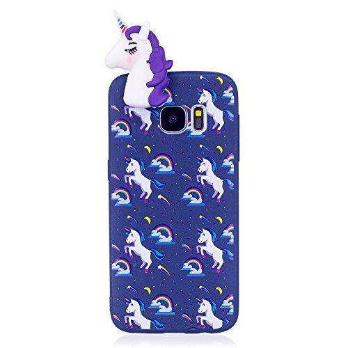 Funda Samsung S7, Carcasas Galaxy S7 3D Unicornio Lindo, MoEvn Gel TPU Silicona Flexible Protectora Caso Ultra Delgado Suave Goma Mate Case Cover Anti Rasguños Anti Choque Bumper Cubierta Caja para Sa Púrpura