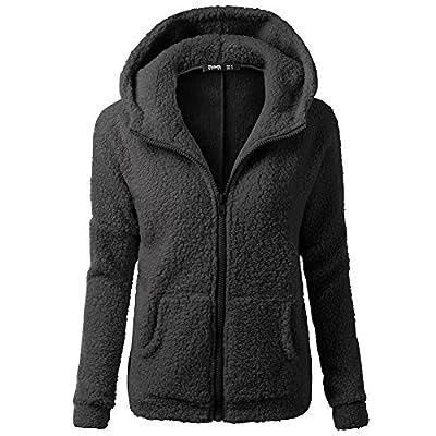 GOVOW Women Hooded Sweatshirt Sweater Coat Winter Warm Wool Zipper Coat Cotton Coat Outwear