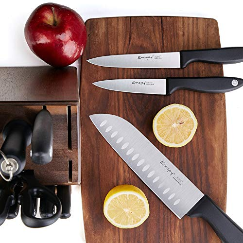 Knife Set, 15-Piece Kitchen Knife Set with Sharpener Wooden Block and Serrated Steak Knives,Emojoy Germany High Carbon Stainless Steel Knife Block Set
