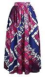 OFEEFAN Womens Floral Printed OL Maxi Skirt for Women High Waist M