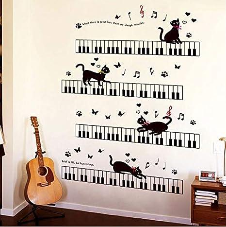 KUANGJING Cat Piano Music Wall Sticker Camera dei Bambini ...
