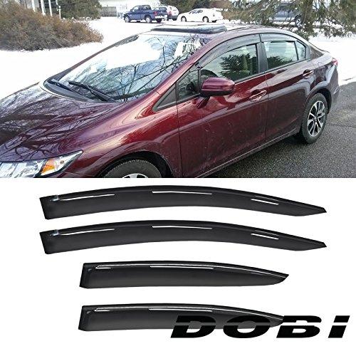 Deebior 4pc Sun/Rain Guard Vent Shade Window Visors Fit 12-15 Civic 4D/4DR Sedan ()