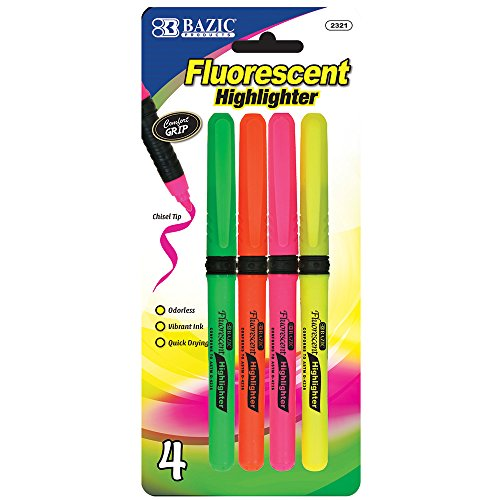 BAZIC Pen Style Fluorescent Highlighters w/ Cushion Grip (4/Pack)(Case of 24)