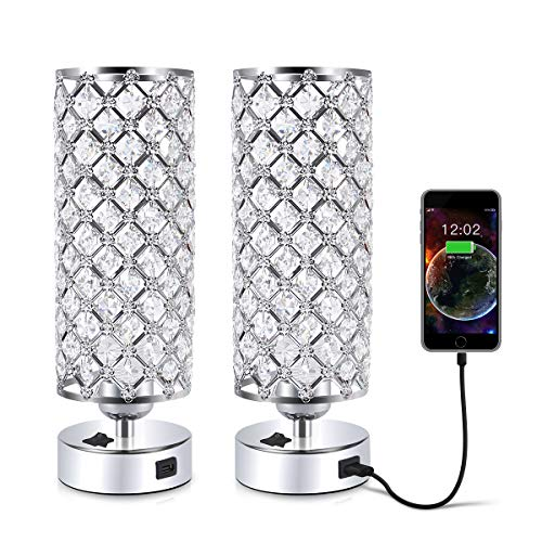 Crystal Table Desk Lamp with USB Port, Acaxin Elegant Bedside Light with Crystal Shade, Glam Lamps for Bedrooms, Decorative Lamp, Nightstand Lamp for Bedroom/Living Room/Dressing Room (Set of Two) (Set Bedroom Clearance)