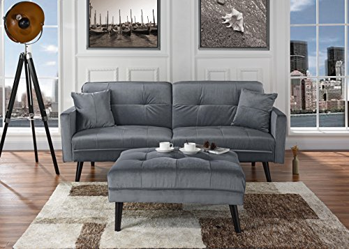- Mid-Century Modern Brush Microfiber Futon Sofa Bed, Living Room Sleeper Couch (Light Grey)