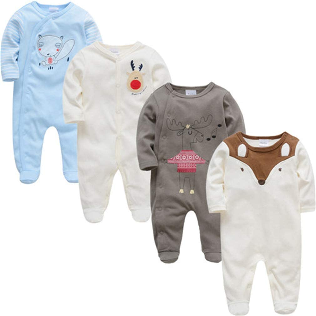 LONELY CAR 4 Piece//Lot Newborn Baby Clothing Long Sleeve Cotton Footies 0-12 Months