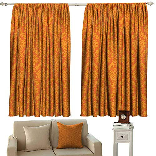 Home Decoration Thermal Insulated Curtains,Burnt Orange Decor Collection Classic Baroque Venetian Random Patterns with Antique Decorative Floral Leaves Home,Darkening and Thermal Insulating Draperies
