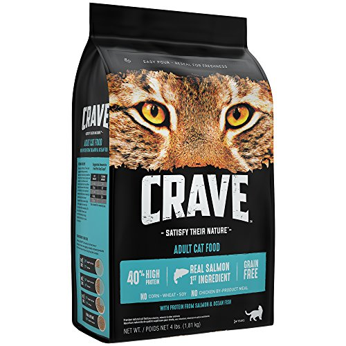 Crave Grain Free with Protein from Salmon & Ocean Fish Dry Adult Cat Food, 4 Pound Bag