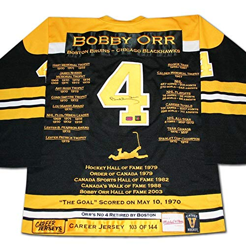 - Bobby Orr Boston Bruins Autographed Career Stats Hockey Jersey GNR LE/144