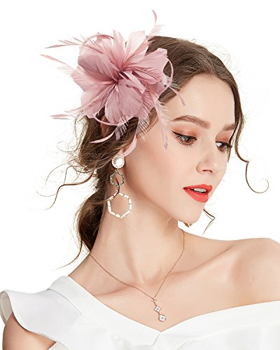 Z&X Women Fascinator Wedding Tea Party Feather Flowers Hair Clip Brooch Headpiece (Nude Pink)