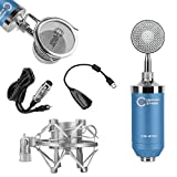 CenterStage CS-211 Studio Broadcast / Podcast & Recording Condenser Vocal Microphone Bundle Kit with Pop Filter + Shockmount + XLR to 3.5mm Cable + USB Soundcard (Blue)