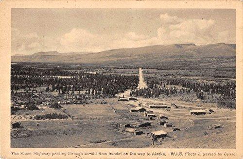 alaska-view-of-alcan-highway-passing-through-hamlet-antique-pc-y8568