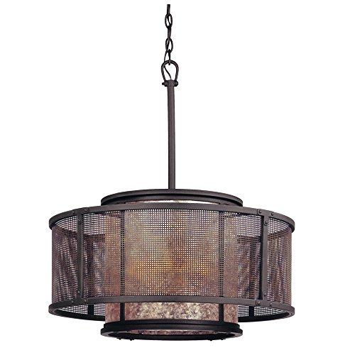 Troy Lighting Copper Mountain 6-Light Drum Pendant - Copper Mountain Bronze Finish with Silver Mica Glass