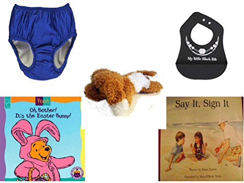 Children's Gift Bundle - Ages 0-2 [5 Piece] Includes: My Pool Pal Reusable Swim Diaper, Royal Blue 24 Months, 18-25 Pounds, Ganz Baby Girl's My Little Black Bib Silicone Crumb Catcher, Amazimals Bro by Secure-Order-Marketplace Gift Bundles