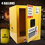 Safety Cabinet 4 and 12 Gal Flammable Liquid Safety Storage Cabinet 1 Door Close Welded for Flammable Liquid with Adjustable Shelf