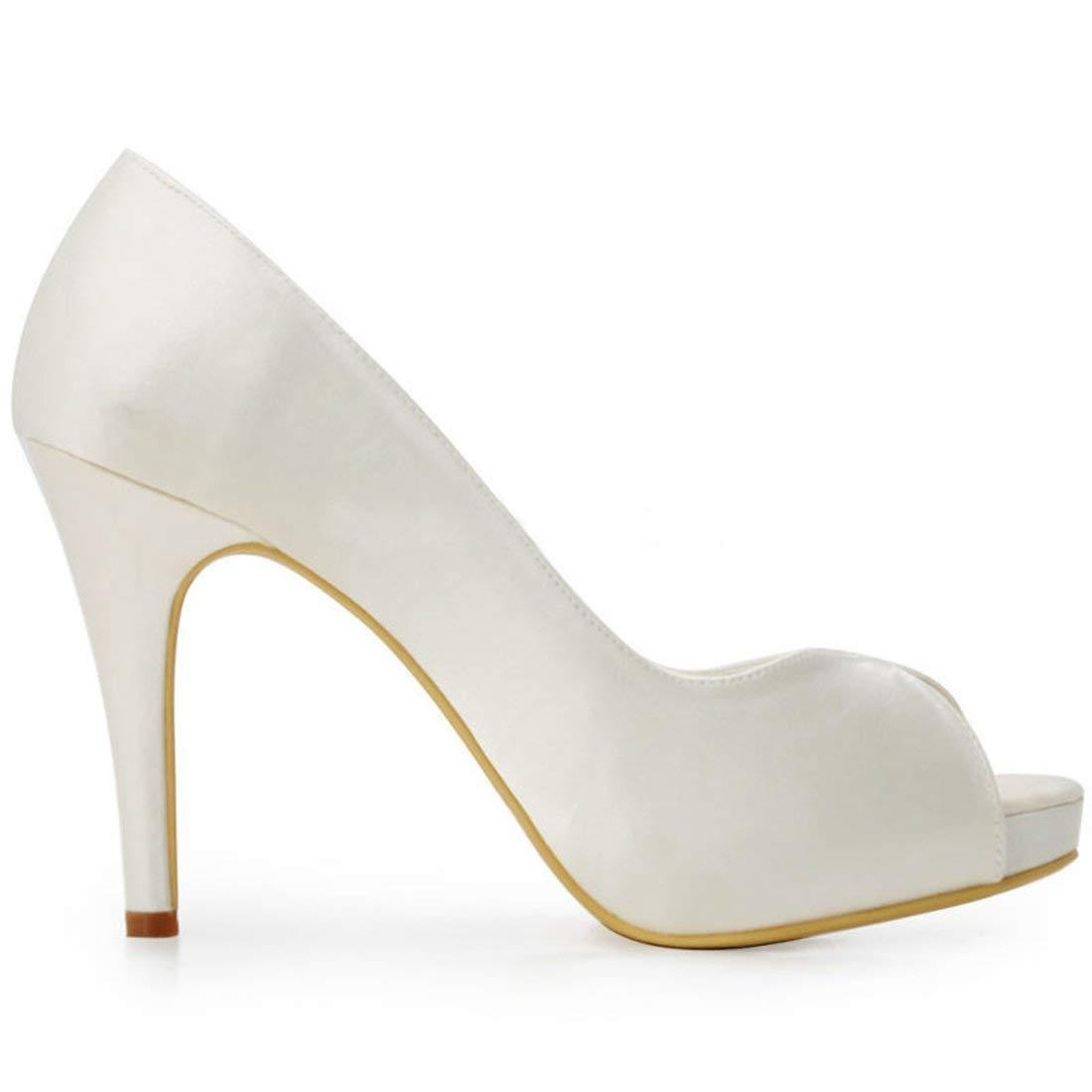 ZHRUI Damen Plattform Stiletto Heels Elfenbein Satin Braut Hochzeit Outdoor Sandalen Sandalen Outdoor UK 3 (Farbe   -, Größe   -) 6c6bd4