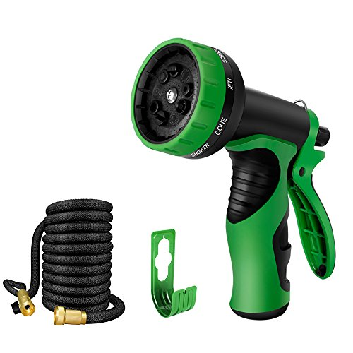 Garden Hose Nozzle, 9 Patterns Spray Nozzle and Magic Expandable Stretch Hose with Solid Brass Connector, Extra Hose Holder, for Watering Plants, Patio Cleaning, Car Wash and Showering Pets (50FT)