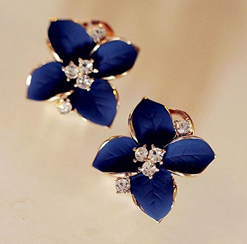 SAYLAVE Flower Rhinestones Earrings Women Elegant Earrings Stud Blue (Tahitian Designer Earrings)