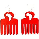 Africa Afro Pick Earrings / Natural Hair Earrings / Afrocentric Jewelry (Red)
