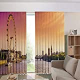 iPrint Modern Blackout Curtains for Window Treatment Blinds Finished Drapes Europe Window Curtains,Thames River Ferris Wheel London Eye Big Ben 84Wx95L Inch