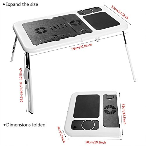 Folding Lap Desk Adjustable Laptop Table for Home, Bed with 2 Cooling Fans, Mouse Pad, Drink Holder and Pen Holder by rampmu (Image #5)