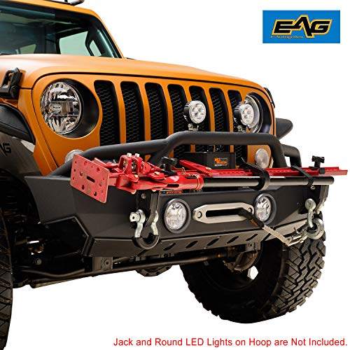 EAG Stubby Front Bumper with Jack Mount Bracket and Fog Light Housing Fit for 18-19 Jeep Wrangler JL