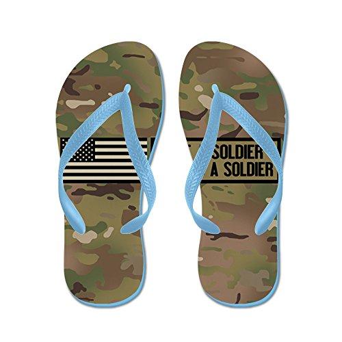 Cafepress Ooit Een Soldaat, Altijd Een Soldaat (camo) - Flip Flops, Grappige String Sandalen, Strand Sandalen Caribbean Blue