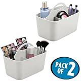 mDesign Plastic Portable Makeup Organizer Caddy Tote, Divided Basket Bin with Handle, for Bathroom Storage - Holds Blush Makeup Brushes, Eyeshadow Palette, Lipstick - 2 Pack, Small, Light Gray