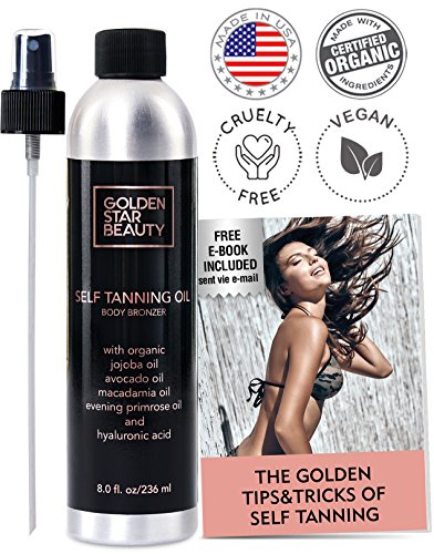 Self Tanner - Sunless Tanning Spray, Natural and Organic Ingredients, Self Tan Dry Oil w/ FREE Bonus Gloves & eBook, No Fake Tan Smell Streak Free for Perfect Golden Tan 8.0 (Body Quick Bronze Self Tanner)