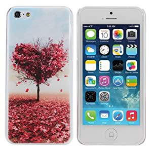 Red Heart Tree Design Hard Plastic Protective Back Case For iPhone 5C