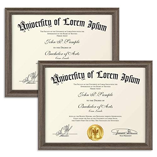 (Icona Bay 8.5x11 Diploma Frame (2 Pack, Hickory Brown), Certificate Frame, Document Frame, Composite Wood Frame for Walls or Tables, Set of 2 Lakeland Collection)