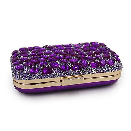 Las Para Lado Mano Boda Diamante Púrpura Señoras Caliente Embrague Noche Con Solo Mujer Cena Un De Hombro Bolso Ezq6FRn