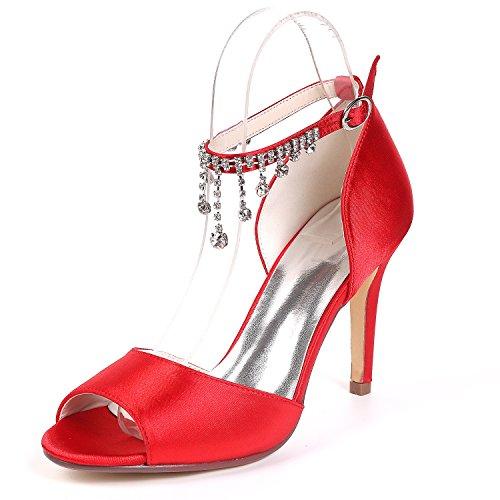 Heels Zehen Elobaby 9 Ferse Abend Strass Toe Frauen Schnalle Hochzeit cm Peep Schuhe KäTzchen High Satin p0p7q