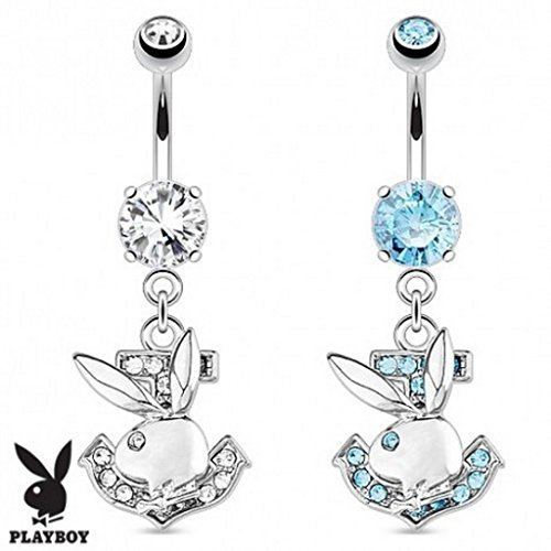 Official Licensed Playboy Aqua Crystal Nautical Anchor Bunny Belly Bar Piercing Thickness : 1.6mm Length : 10mm Material : Surgical Steel ()