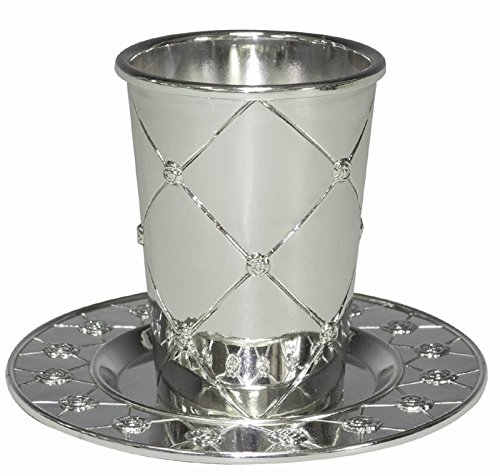 Kiddush Cup Silver Plated W/Plate 3.5