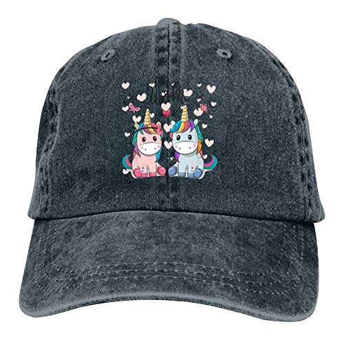 CCVWW Unicorn Cartoon Love Men Baseball Cap Trucker Hat Denim Dad Hat Cap