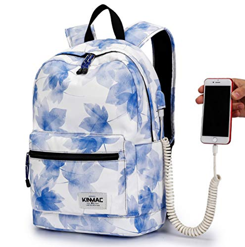 Kinmac Waterproof Laptop Travel Outdoor Backpack with USB Charging Port for 13 inch 14 inch and 15.6 inch Laptop (Blue Maple)