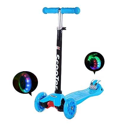 IMMEK Patinete de 3 Ruedas Scooter con Led Luces Manillar Altura Ajustable 73cm-83cm,Perfecto para los Niños Adjustable Handles & Lightweight ...