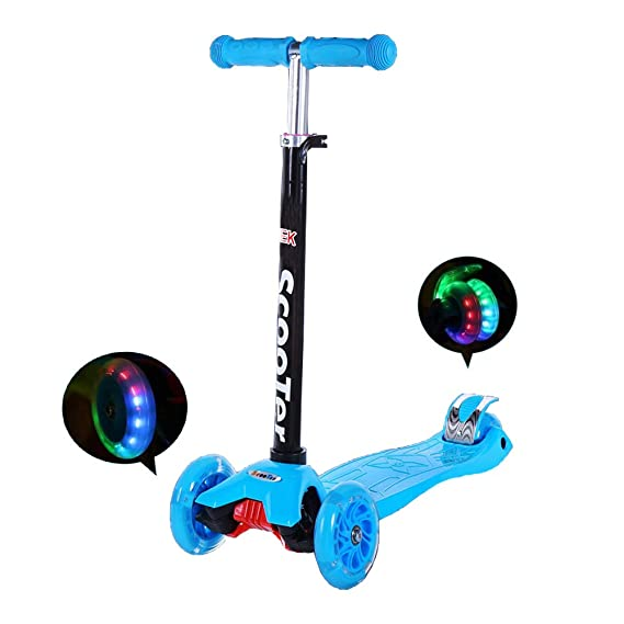IMMEK Patinete de 3 Ruedas Scooter con Led Luces Manillar Altura Ajustable 60cm-83cm,Perfect for Children Aged 3+ Adjustable Handles & Lightweight ...