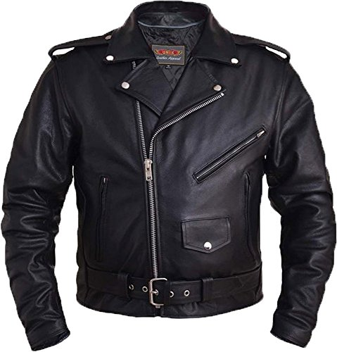 Unik Men's Traditional Premium Motorcycle Jacket with Plain Sides