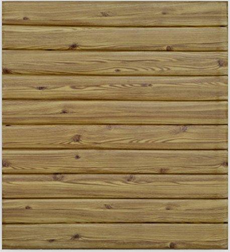 3D Brick Wall Stickers 3D Wood-grain Self-adhesive Panel Decal PE Wallpaper PE Foam Self Adhesive Brick Pattern Soft Pack TV Sofa Background Living Room Bedroom (20, 3D Wood-grain (Wood yellow))