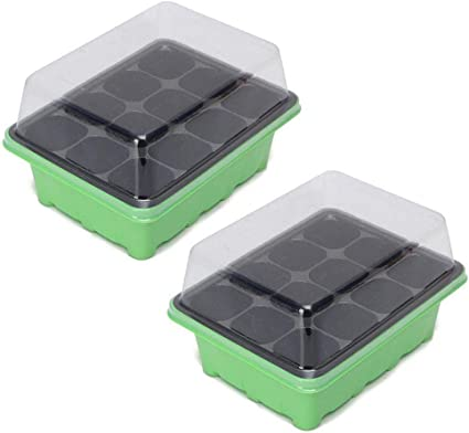 24 Cells Seed Starter Kits,Plant Germination Trays Seed Starter Tray with Dome,Seedling Starting Trays for Growing Vegetable Flower Indoor//Outdoor