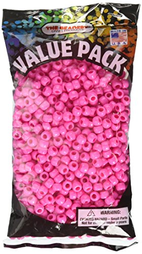 The Beadery 6 by 9mm Barrel Pony Bead, Hot Pink, 900-Pieces