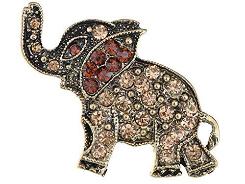 (Alilang Antique Bronze Brass Tone Topaz Crystal Rhinestone Elephant Pin Brooch)